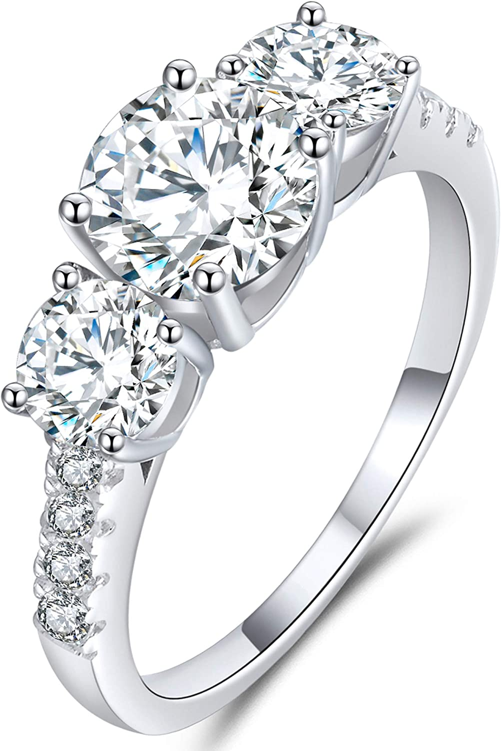 GEM DE LUXE 3ct Center 8.0mm with D Color Platinum Plated Silver Plating 18k White Gold Three Stone Moissanite Engagement Ring with Accents VVS1 Clarity 2.3mm Band Jewelry Gifts