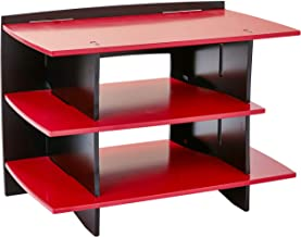 Legaré Furniture Kids Gaming and TV Media Stand, Standard Storage Unit for Bedroom, Basement, and Playroom, Red and Black