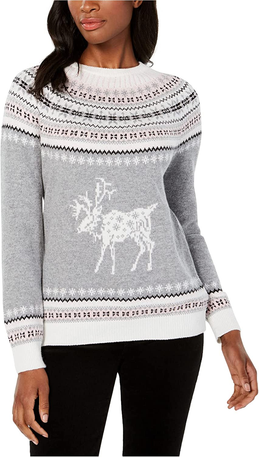 Tommy Hilfiger Womens Reindeer Wool Pullover Sweater