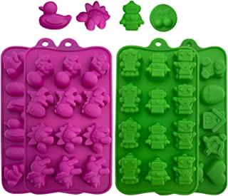 Silicone Candy Molds, Chocolate Molds: BPA Free Baking Molds for Chocolate, Shaping Hard or Candies, Keto Fat Bombs, Jello, Ice Cubes- Animals, Dinosaur, Robots, Ducks, Cute Shapes Molds, 4 Pack