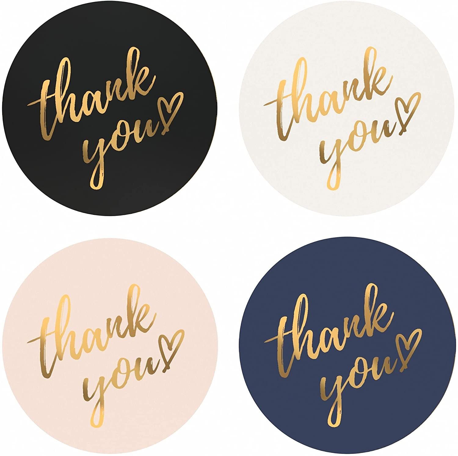 Mobiusea Party Thank You Stickers Roll | Simple and Sincere | 1.5 inch | Waterproof | 500 Labels for Small Business, Packaging, Mailer Seal Stickers | 4 Classic Colors with Gold Foil Design