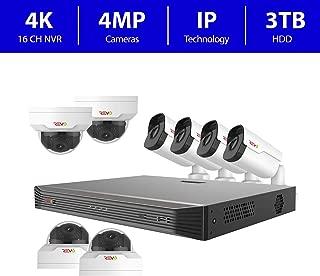 Revo America Ultra 16 Ch. 3TB HDD IP NVR Video Surveillance System, 4 x 4MP IR Bullet Cameras & 4 x 4MP Vandal Resistant IR Mini Dome Cameras - Remote Access via Smart Phone, Tablet, PC & MAC