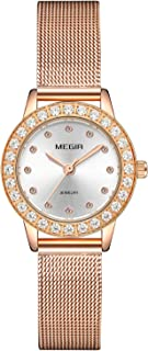 Women Leather Strap with Stainless Steel mesh Belt Ladies Diamond Watch Large dial Waterproof Watch