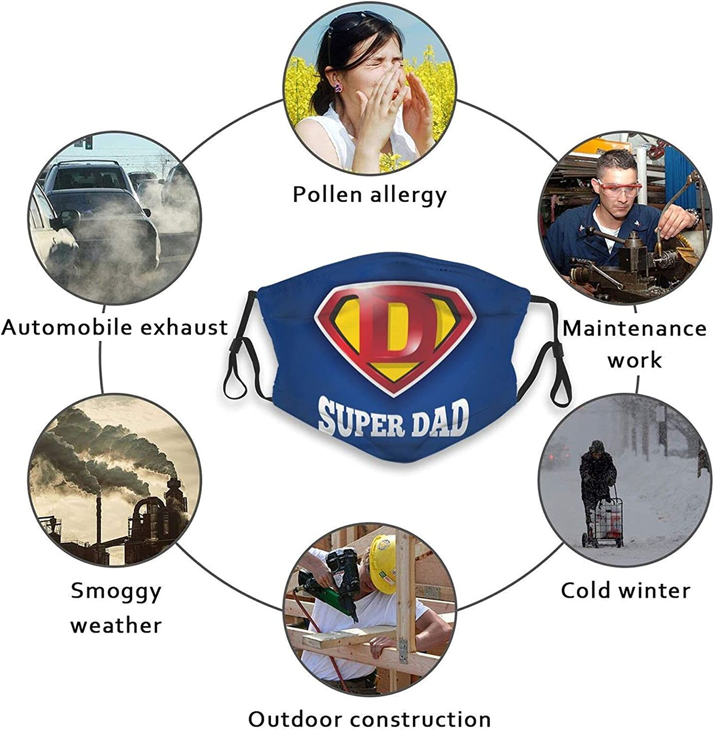 Happy Father's Day Face Mask,Father Mask Reusable Bandana Adjustable Scarf For Adult (With 2 Filters)
