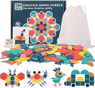 180 Pcs Pattern Blocks Set, Wooden Geometric Shape Puzzle Kindergarten Classic Educational Montessori Tangram Toys for Kid...