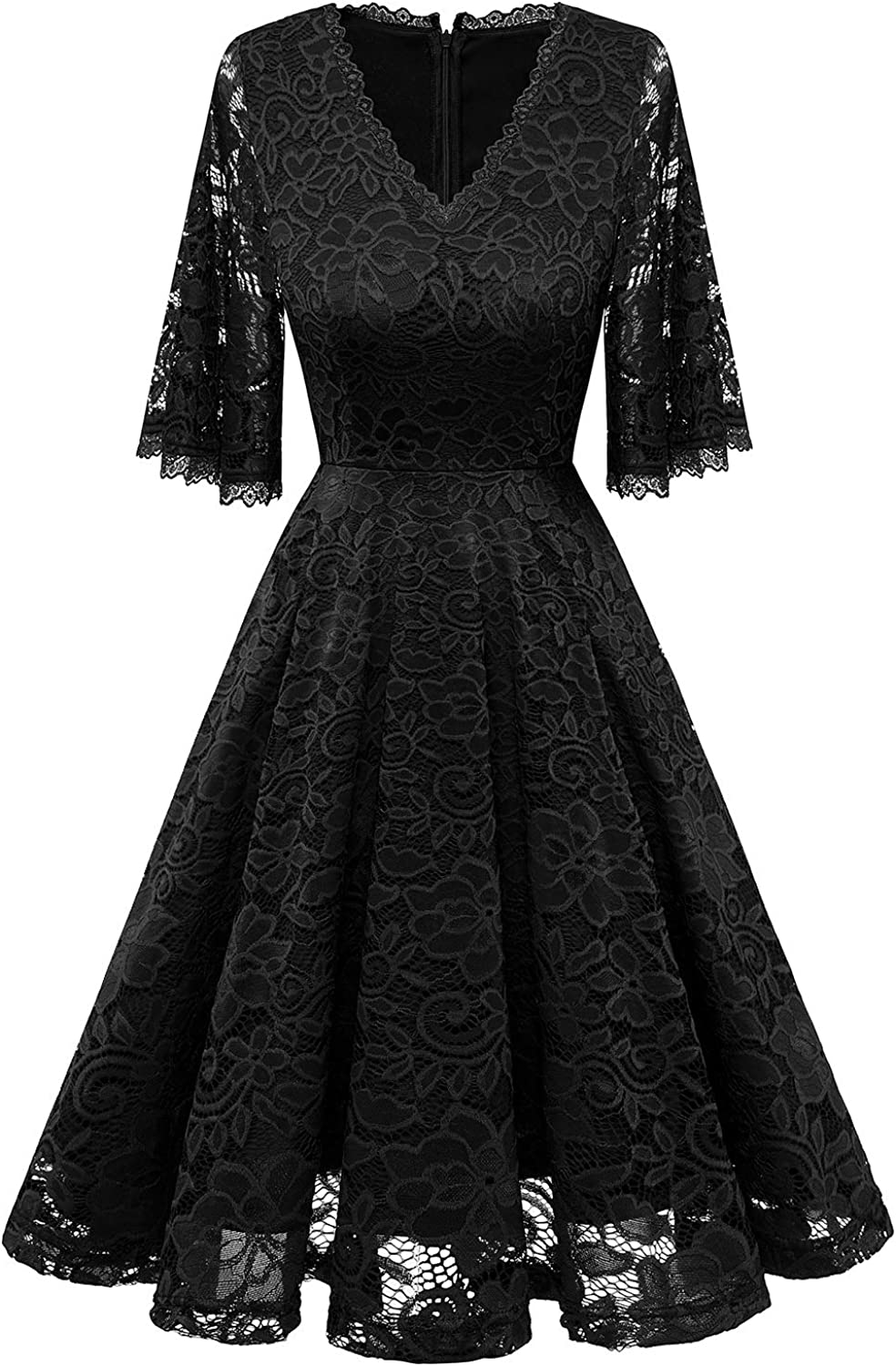 Gardenwed Women's V-Neck Floral Lace Cocktail Party Dress Wedding Bohemian Sleeve Bridesmaid Dress