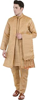 Men's Dress Sherwani Embroidered Kurta Pajama, Jacket and Stole Set