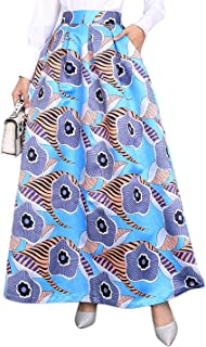 Novia's Choice Women's African Floral Print High Waist Maxi Long Beach A-Line Swing تنورة