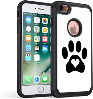 iPhone 7 Case,iPhone 8 Case, Rossy Heavy Duty Hybrid TPU Plastic Dual Layer Armor Defender Protection Case Cover for Apple iPhone 8 2017 / iPhone 7 2016,Dog Cat Heart Paw Prints