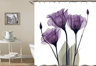 NATURALSHOW Print Elegant Tulip Purple Flower Shower Curtain High-Definition Digital Printing Purple Bath Shower Curtain(7272 in, Purple Shower Curtain)