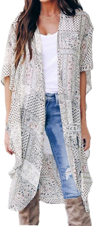 FINOCEANS Women Floral Kimono Cardigan Chiffon Cover Up Beige Small