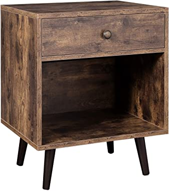 VASAGLENightstand,EndTablewith Drawer,Open Compartment, andPinewood Legs,Bedside Table for Bedroom,19.7 x 15.7 x 22.8