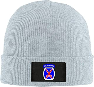 Xdinfong 10th Mountain Division Patch Winter Beanie Hat Knit Skull Cap for Men & Women