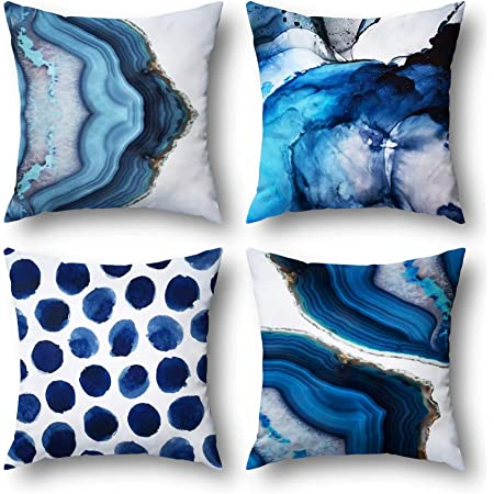 Wyooxoo Blue Throw Pillow Covers Set of 4,18 x 18 Inch Navy Blue Marble Dots Sea Texture Linen Fabric Cushion Covers Home Couch Decorative Pillow Case for Sofa Car Bedroom Living Room