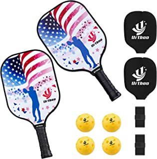 Urtboo Pickleball Paddle Rackets, Graphite Pickleball Sets Graphite Face Honeycomb Composite Core Low Edge Guard Premium Grip Light Weight 7.8 OZ,Pickleball Racket Good Choice for Beginner&Pro