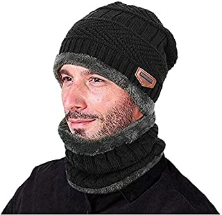 YR.Lover Winter Warm Hat Scarf Knitted Hat with Soft Fleece Lined Beanie Cap for Men