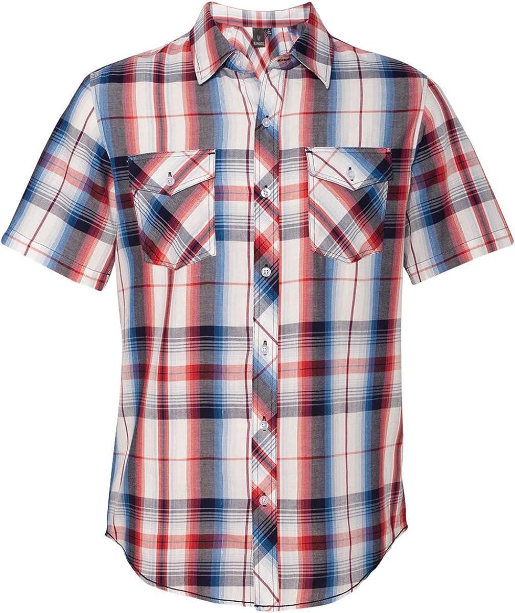 Burnside Mens Plaid Short Sleeve Shirt-B9202