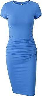Women's Short Sleeve Ruched Casual Sundress Midi Bodycon T Shirt Dress