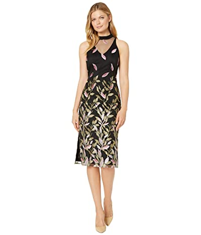 Adrianna Papell Fluttering Leaves Sheath Dress (Black Multi) Women