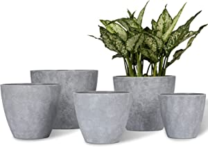 Large Plastic Planters Plant Pots - MAYZBO 7.5/6.7/6/5.3/4.6 Inch Nordic Industry Style Indoor Heavy Duty Decorative Imitation Cement Pattern Garden Flower Pots with Drainage Hole, Set of 5