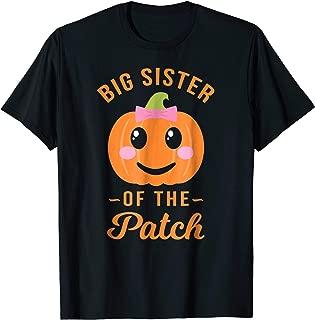 Big Sister of The Patch Pumpkin Girl Halloween T Shirt