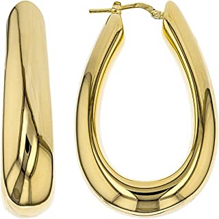 JTV-18kt Yellow Gold Over Bronze Horseshoe Polished Tube Earrings