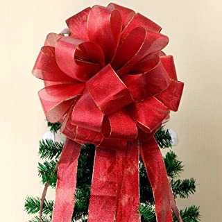 Aytai Christmas Tree Topper Bow Large Red Christmas Bows with Streamer Gold Edge, DIY Red Velvet Ribbon for Christmas Tree Decoration