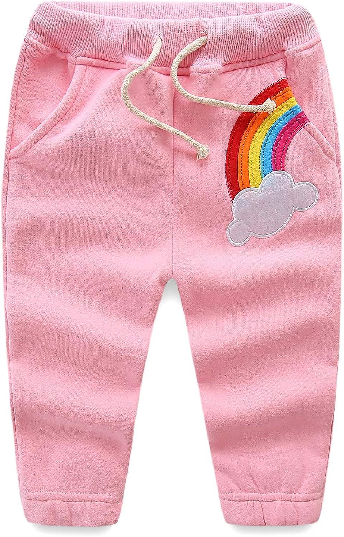 Mud Kingdom Girls Rainbow Jogger Pants Fleece