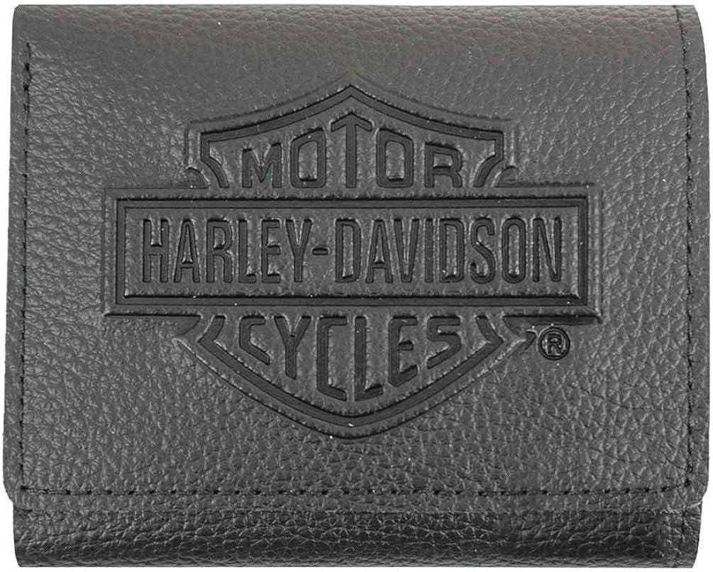Harley-Davidson Men's Embossed B&S Logo Leather Tri-Fold Wallet XML3571-BLK