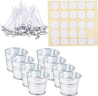 PH PandaHall Candle Making Kit, 12pcs Mini Metal Buckets, 50pcs Candle Wicks 50pcs Stickers and 2pcs Candle Wick Centering...