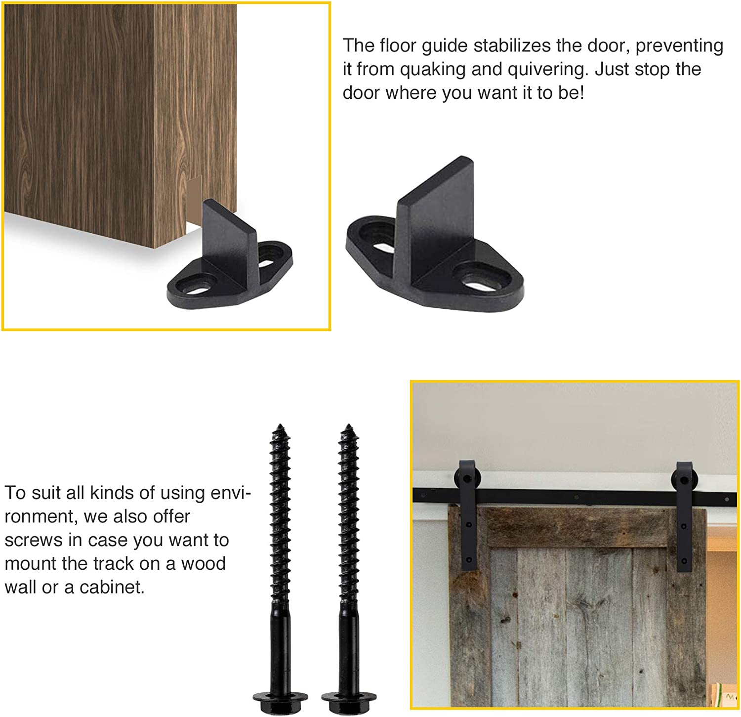 Carbon Steel Single Rail Single Door-6.6FT Whole Kit CO-Z 6.6FT Heavy-Duty Rail for Sliding Barn Door Straight Shape Hangers for Super Smooth and Quiet Opening Easy to Install