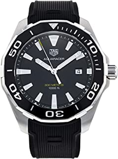 Men's Aquaracer Stainless Stee Case with Black Rubber Strap and Black Dial Quartz Watch WAY101A.FT6141