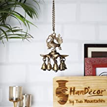 Two Moustaches Peacock Hanging Brass Diya with Bells | Home Decor |