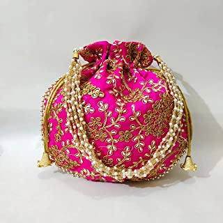 JJ Arts POTLI Bag with Handmade Embroidery with Silk (Pink)