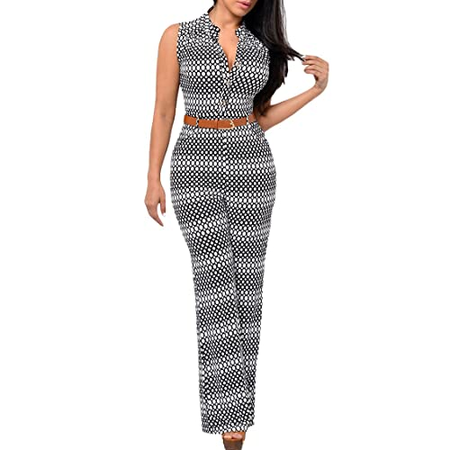 b1a8bb15d1666 Pink Queen Womens Button Up Printed Long Wide Leg Pant Party Jumpsuits with  Belt