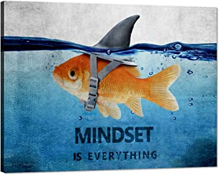 """Motivational Wall Art Animal Mindset is Everything Posters Painting Prints on Canvas Cute Animal Pictures Inspirational Entrepreneur Quotes Artwork for Office Classroom Gym School Framed (18""""Hx24""""W)"""
