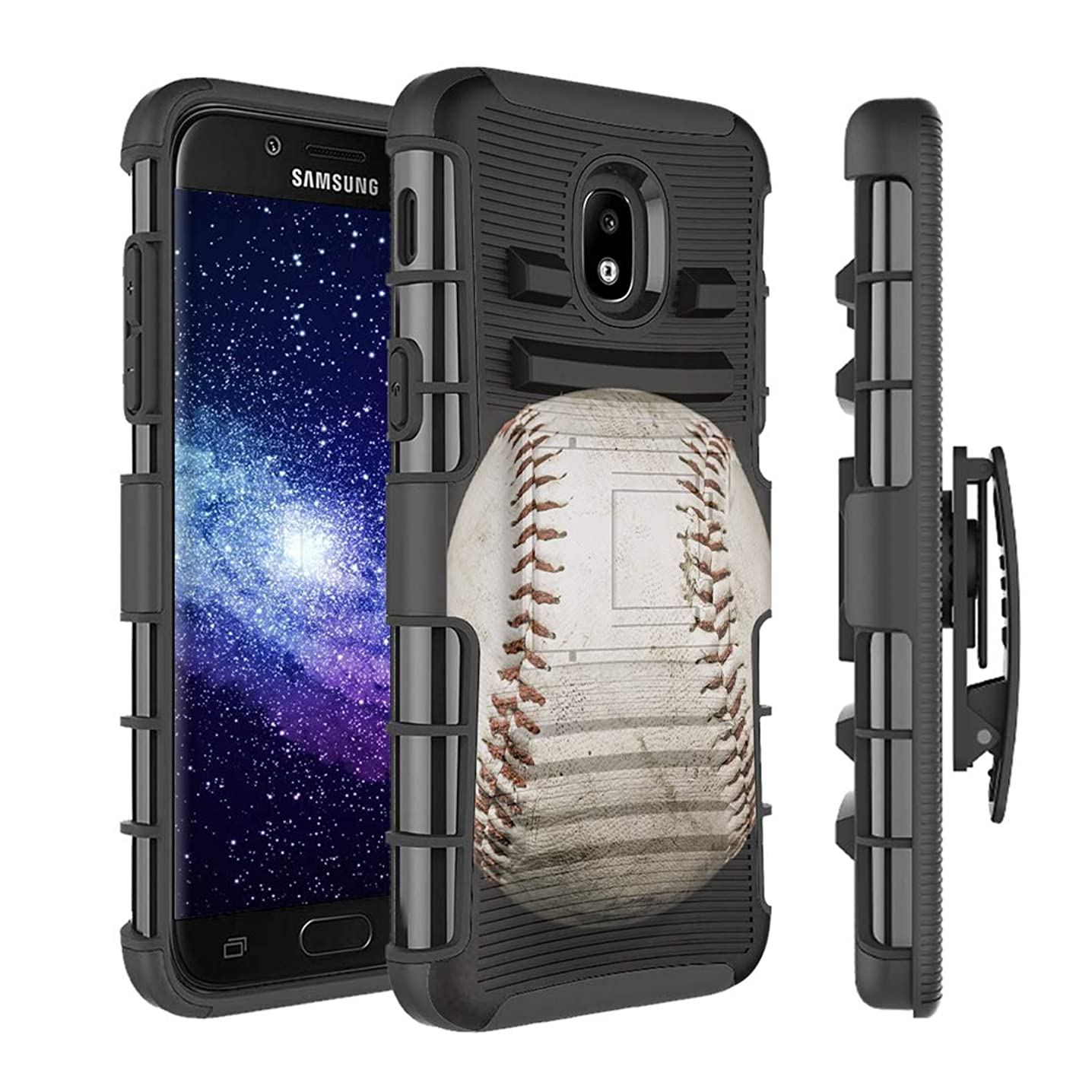 Capsule Case Compatible with Samsung Galaxy J7 2018 (J737), J7 Star, J7 Aero, J7 Refine, J7V 2nd Gen, J7 Crown, J7 Eon [Armor Kickstand Holster Combo Case Black] - (Baseball)