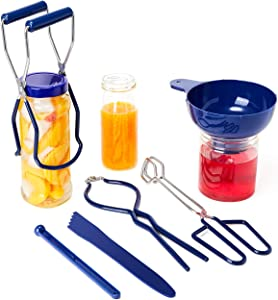 Canning Kit Canning Supplies 6 Pcs Include Canning Funnel, Canning Jar Lifter, Jar Wrench, Lid Lifter, Canning Tongs, Bubble Measurer for Canning Accessories Equipment for Food/Fruit/Pickle