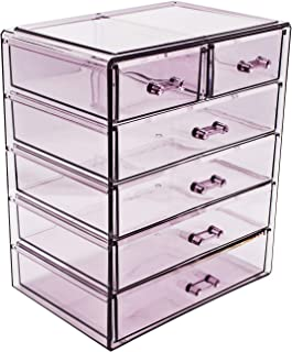 Sorbus Cosmetics Makeup and Jewelry Big Purple Storage Case Display- 4 Large and 2 Small Drawers Space- Saving, Stylish Acrylic Bathroom Case