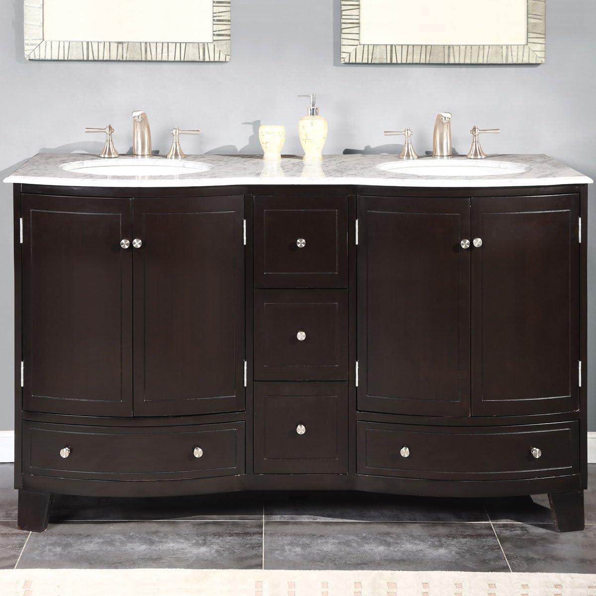 Amazon Com Silkroad Exclusive Hyp 0703 Wm Uwc 60 Carrara White Marble Top Double Sink Bathroom Vanity With Espresso Cabinet 60 Dark Wood Tools Home Improvement
