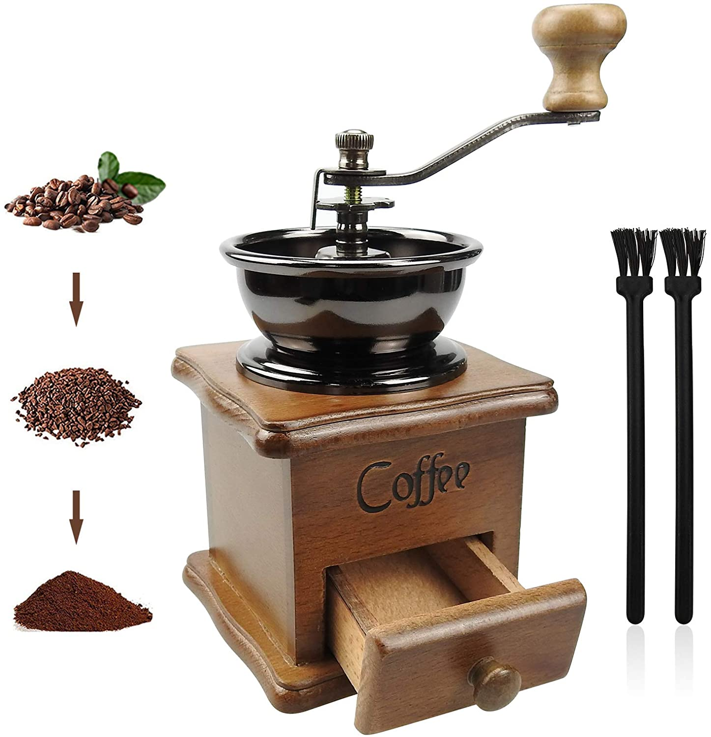 Manual Coffee Grinder Vintage Hand depot Style Wooden Co Industry No. 1