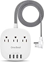 Desktop Power Strip with 3 Outlet 4 USB Ports 4.5A, Flat Plug and 5 ft Long Braided Extension Cords for Cruise Ship Travel...