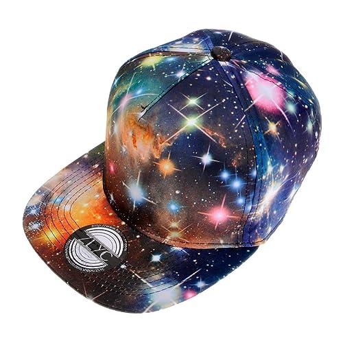 dbd6e659d34 ZLYC Unisex Galaxy Snapback Hat Adjustable Flat Bill Baseball Cap