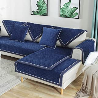 TEWENE Sofa Cover, Velvet Couch Cover Anti-Slip Sectional Couch Covers Sofa Slipcover for Dogs Cats Pet Love Seat Recliner Armrest Backrest Cover Blue (Sold by Piece/Not All Set)