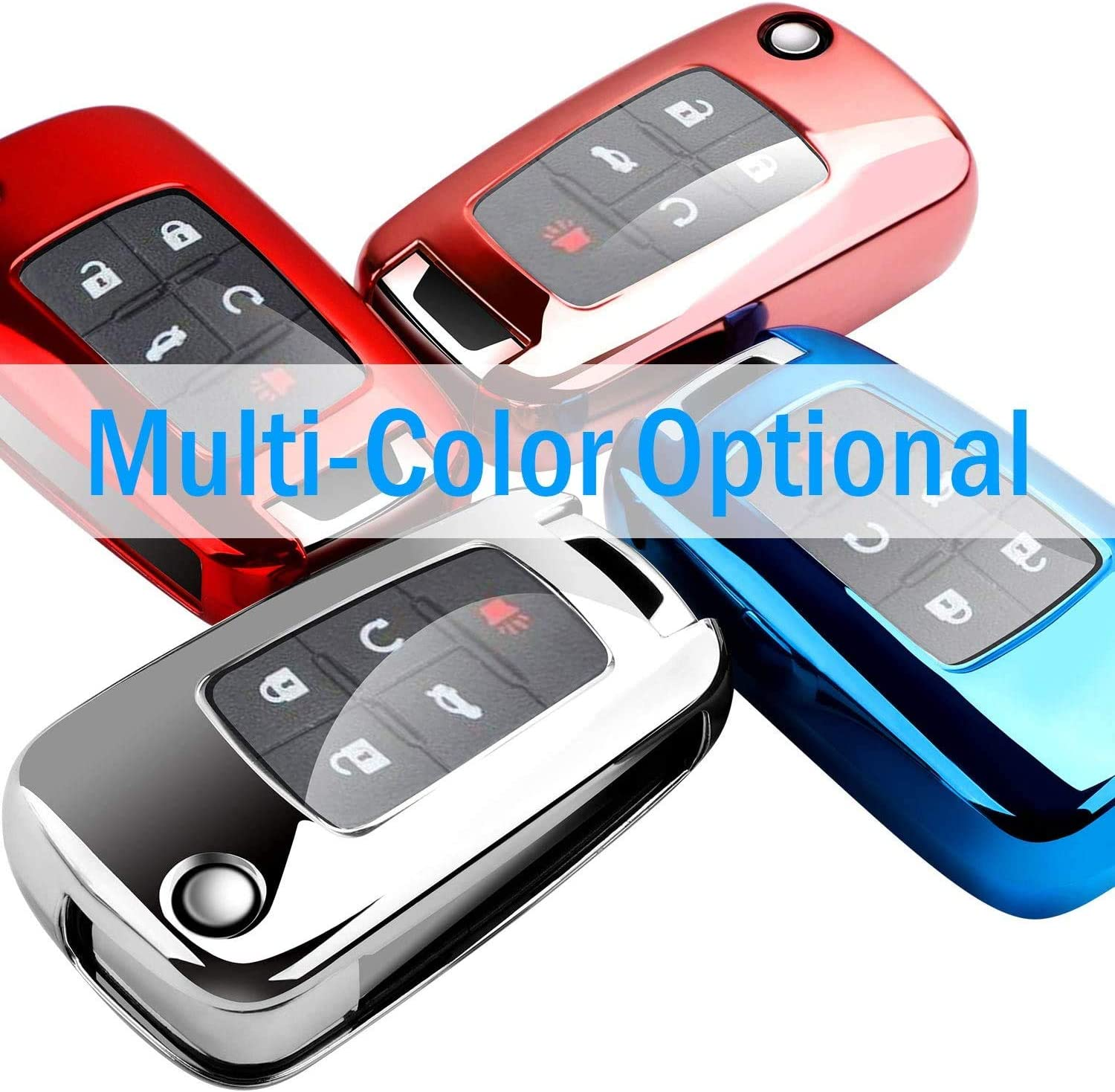 Blue N//A for Chevrolet Key Fob Cover case Shell Cover TPU Protector Holder with Key Chain for Chevrolet Chevy 2020 2019 2018 2017 2016 Malibu Camaro Cruze Traverse Spark Equinox Sonic Volt Bolt