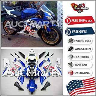 Auctmarts Injection Fairing Kit ABS Plastics Bodywork with FREE Bolt Kit for Yamaha YZF-R6 YZF R6 2006 2007 Blue White Fiat (P/N:4d1)