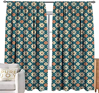 Andrea Sam Bedroom Curtains Floral,Lovely Spring Wildflowers Daisies Daffodils Bedding Plants Meadow Concept,Orange Teal Peach W120 x L108 inch,for Kitchen Windows