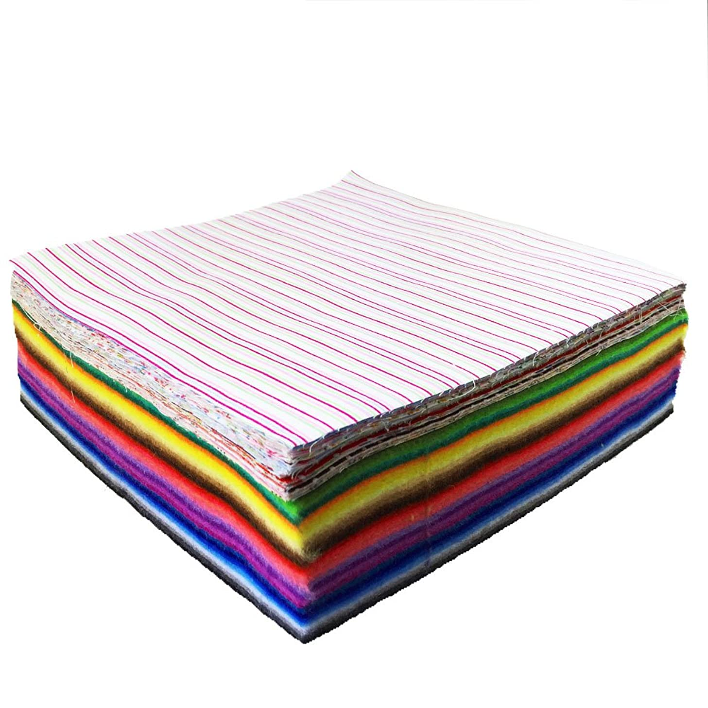 flic-flac Soft Felt Fabric and Cotton Fabric Sheet Assorted Color Felt Pack DIY Craft Squares Nonwoven (20cm20cm, 28pcs Soft Felt+50pcs Cotton Fabric)