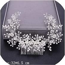 Women Hair Combs Wedding Hair Accessories Tiara Pearl Rhinestone Silver Bridal Hair Ornaments Flower Head Jewelry Headband Many,Silver5
