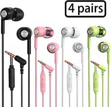 S32 Earphones Headphones, Powerful Bass Driven Sound, 12mm Large Drivers, Ergonomic Design with Remote Control and Microphone (Black+White+Pink+Green 4pairs)